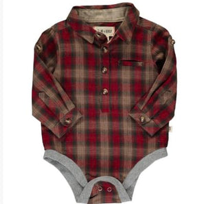 Red/Brown Plaid Woven Bodysuit