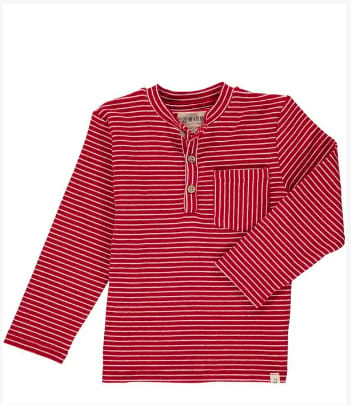 Red Stripe Long Sleeve Henley Tee