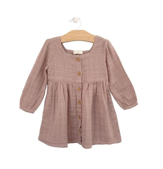 Muslin Button Dress - Dusty Rose