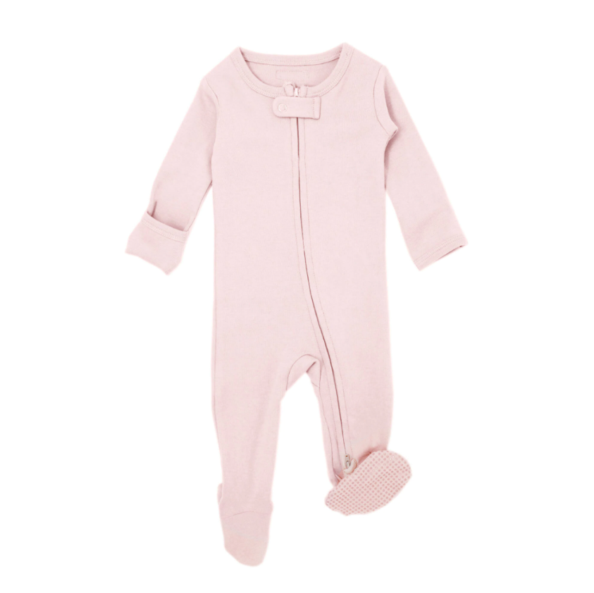 Organic Zipper Footie - Blush