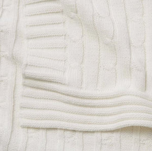 Cream Cable Blanket - 30 x 40