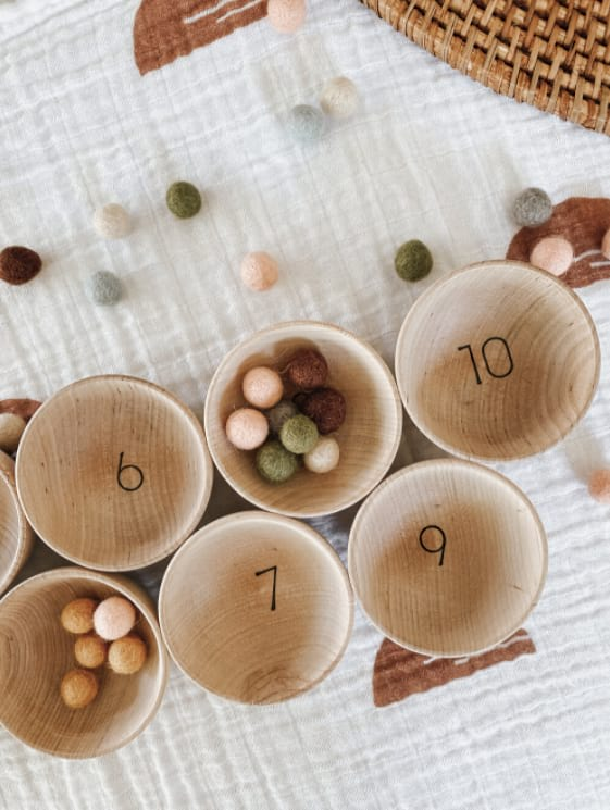 Wood Counting Bowls with Felt Balls