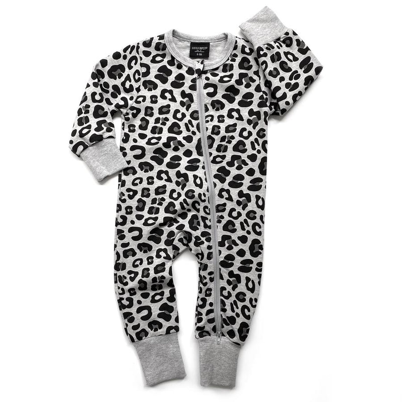 2-Way Zip Romper - Grey Leopard