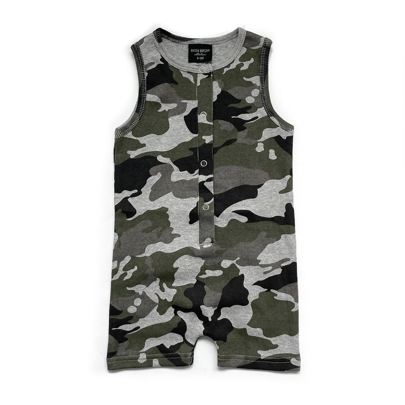 Ribbed Shorty Romper - Camo