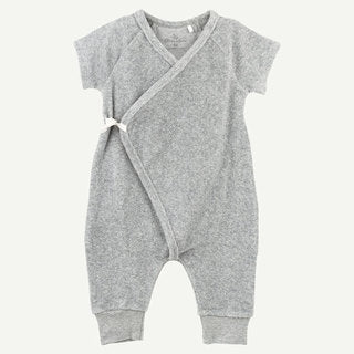 Heather Grey Terry Long Leg Kimono Romper