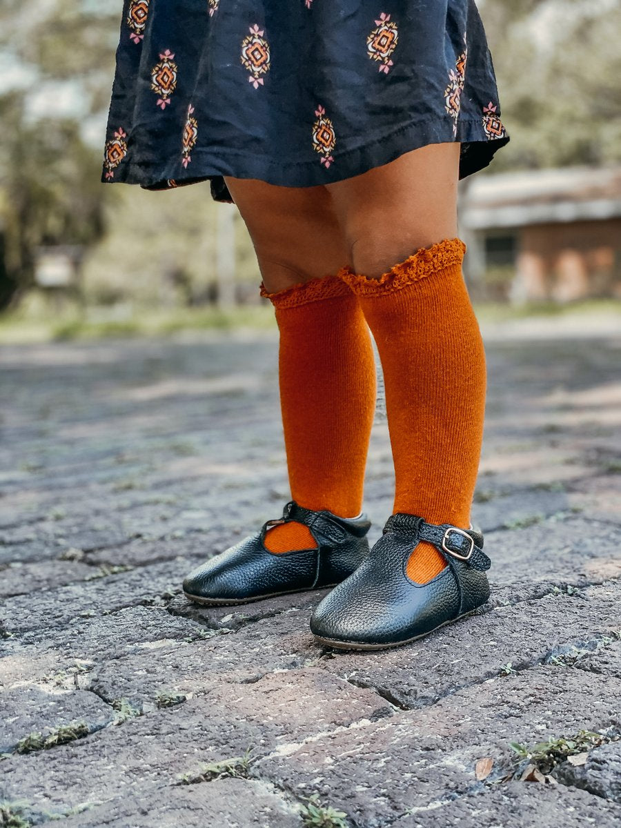 Pumpkin Spice Lace Top Knee Highs