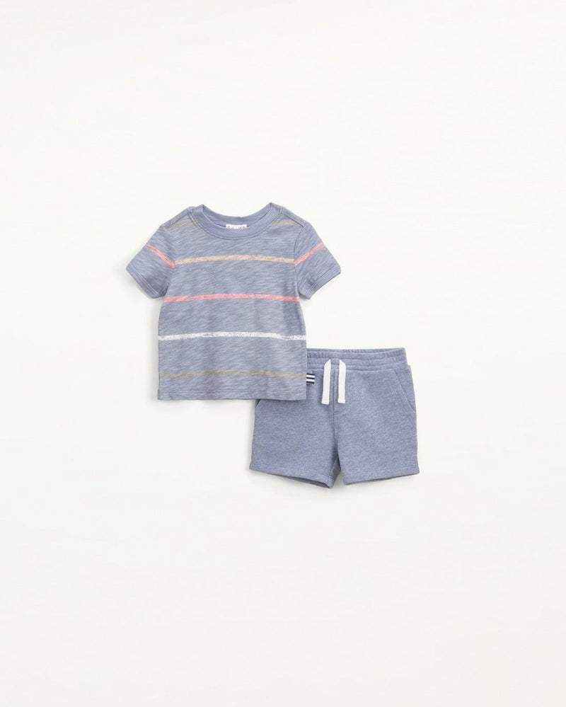 Infant Boy Painted Stripe Tee Set