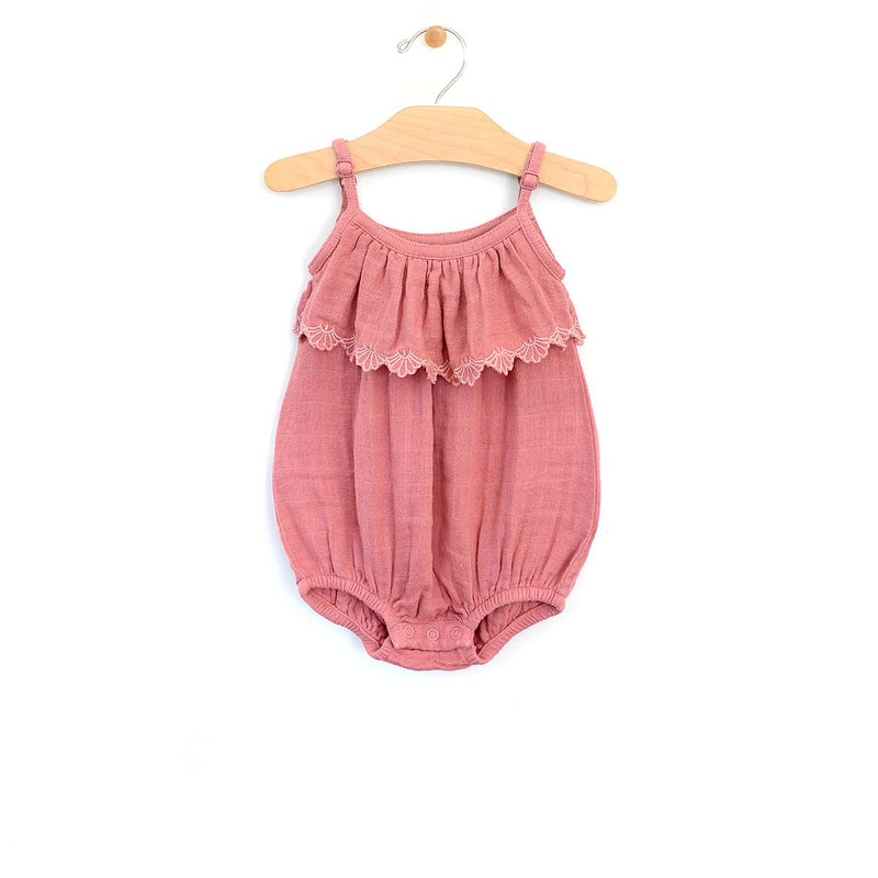 Muslin Embossed Flutter Bubble Romper - Sunset Rose