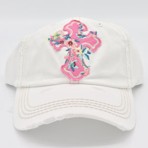 Distressed White Floral Cross Cap