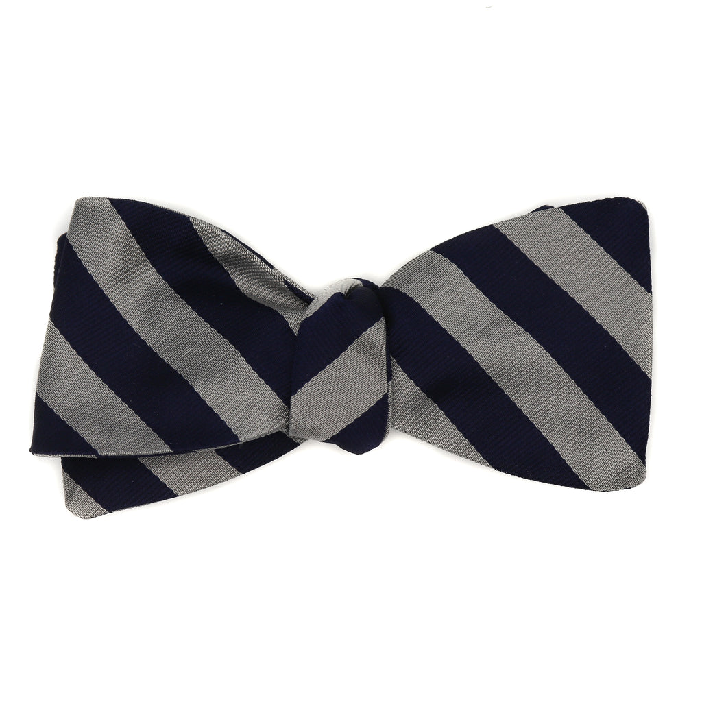 Navy and Silver Style Bow Tie