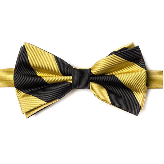 Black and Gold Stripe Pre-Tied Bow Tie