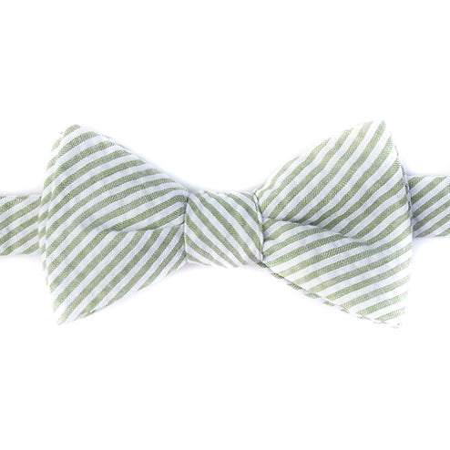 Green Seersucker Self-Tie Bow Tie