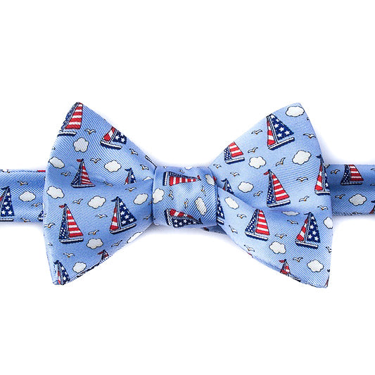 Starboard and Stripes: Light Blue Bow Tie