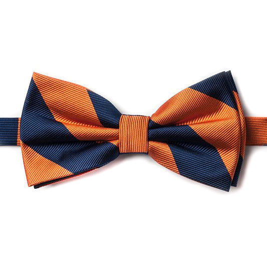 Orange and Navy Pre-Tied Bow Tie