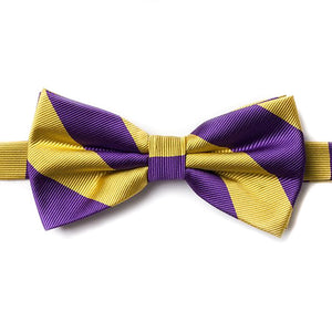 Purple and Gold Pre-Tied Bow Tie