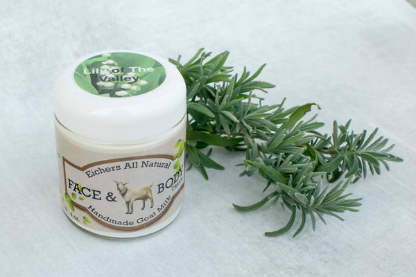 Lily of the Valley Handcrafted Goat Milk  Face and Body Cream - eichershobbyfarm - Goat Milk Products - Avon, Minnesota