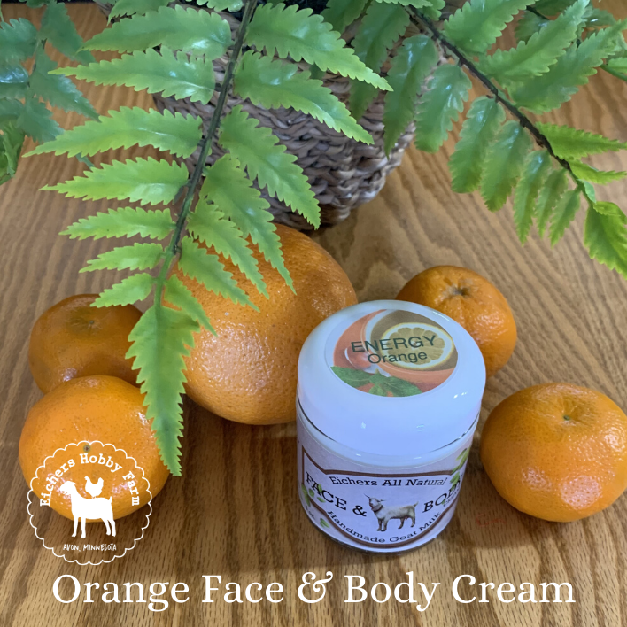 Orange Handcrafted Goat Milk  Face and Body Cream - eichershobbyfarm - Goat Milk Products - Avon, Minnesota