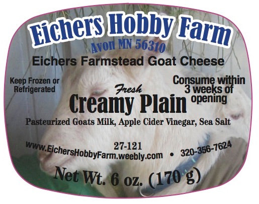 Creamy Plain - Fresh Artisan Goat Cheese - 6 oz. - eichershobbyfarm - Goat Milk Products - Avon, Minnesota