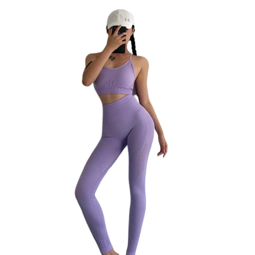 2 Piece Yoga Outfit Set | Sports Bra + Seamless Leggings [Matching Colors]