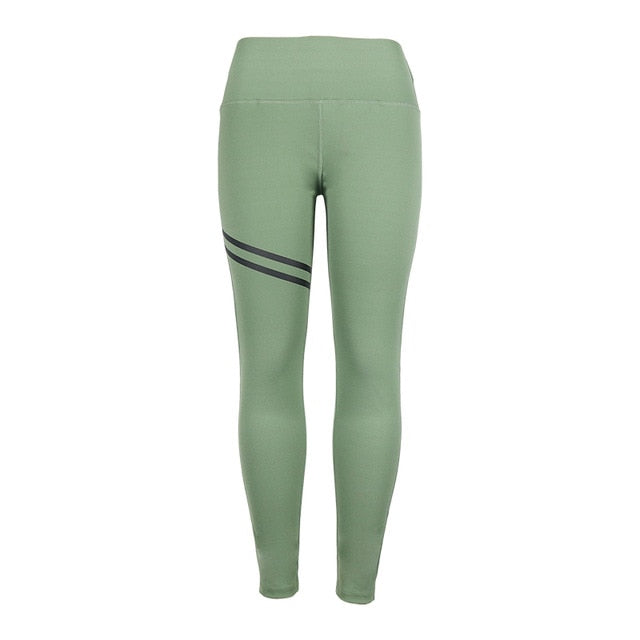 High Waisted Yoga Leggings [SLEEK STRIPE]