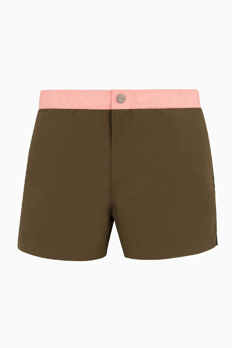 Short de Bain Mi-Long OVERSEA HOMME S FIGTREE - Kaki/Rose