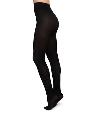 Alma rib tights Black by Swedish Stockings