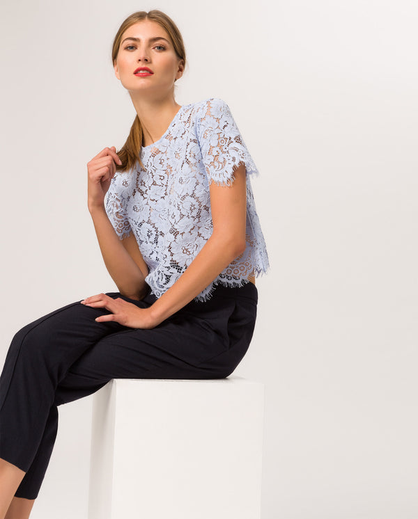 Boxy Lace Top Serenity Blue