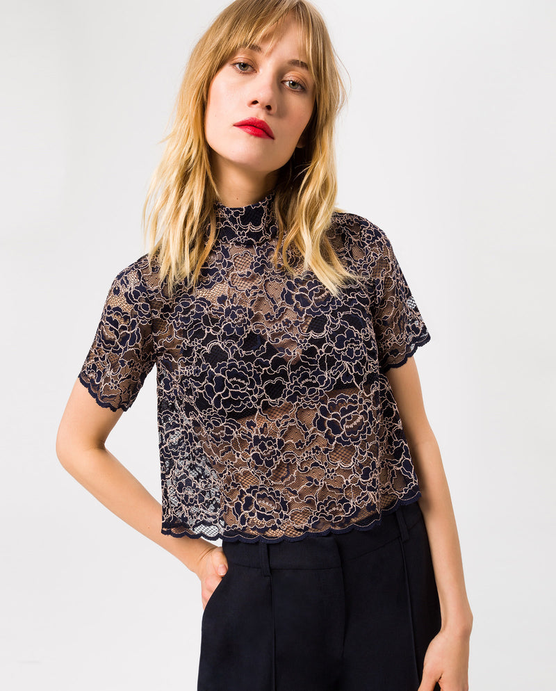 Stand-Up Collar Lace Top