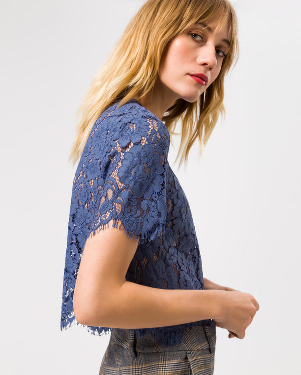 Boxy Lace Top Vintage Blue