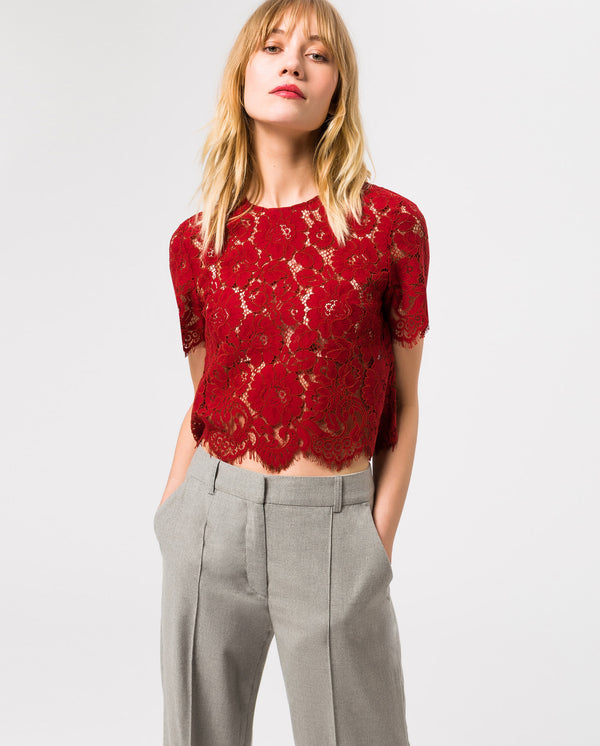Boxy Lace Top Rusty Red