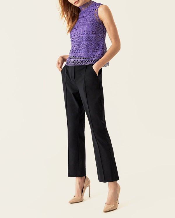 Graphic Lace Top Dahlia Purple