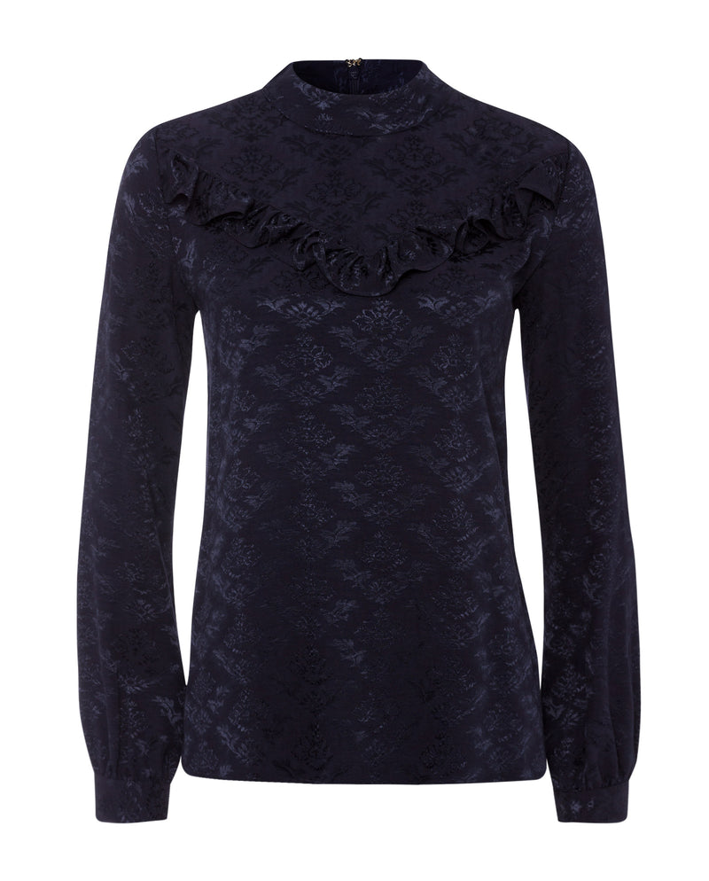 Ruffle Stand-Up Collar Blouse Navy Blue