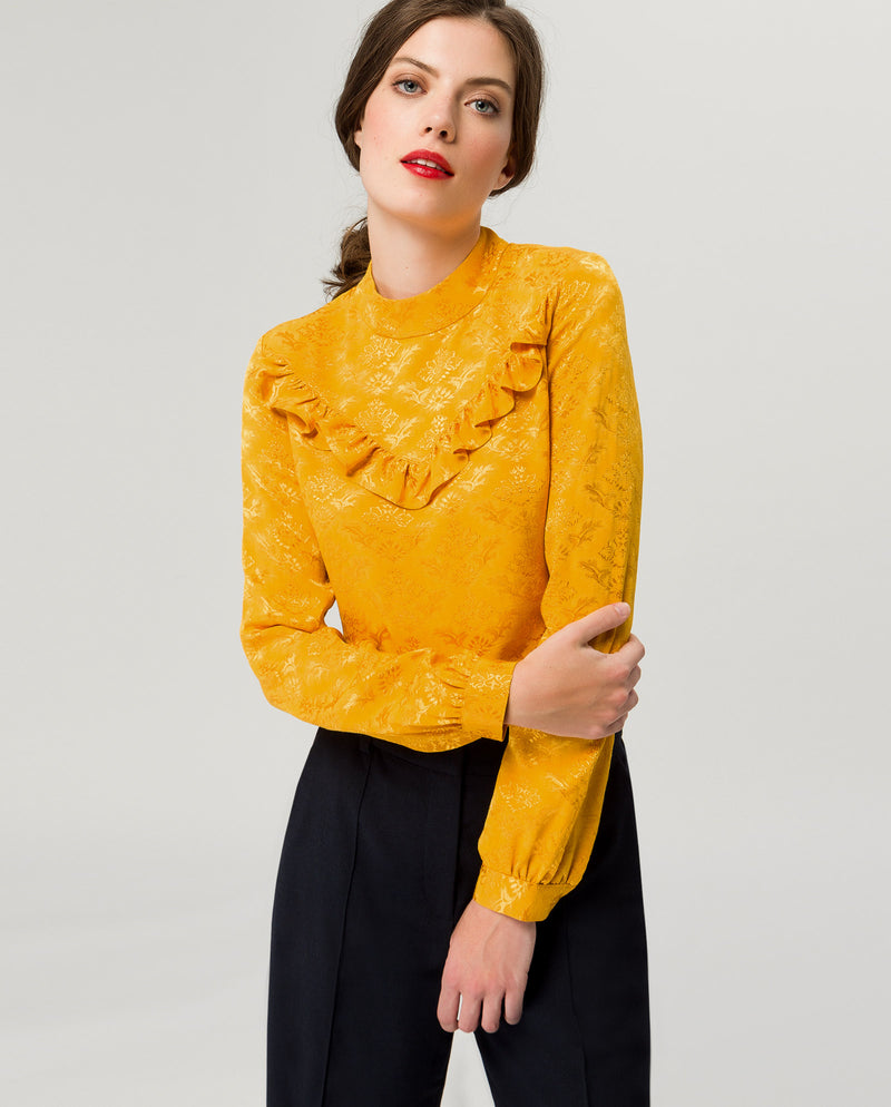 Ruffle Stand-Up Collar Blouse Sunflower