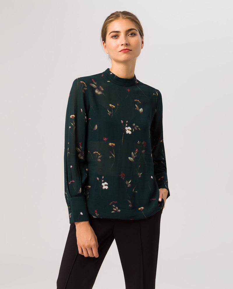 Stand-Up Collar Blouse Bottle Green