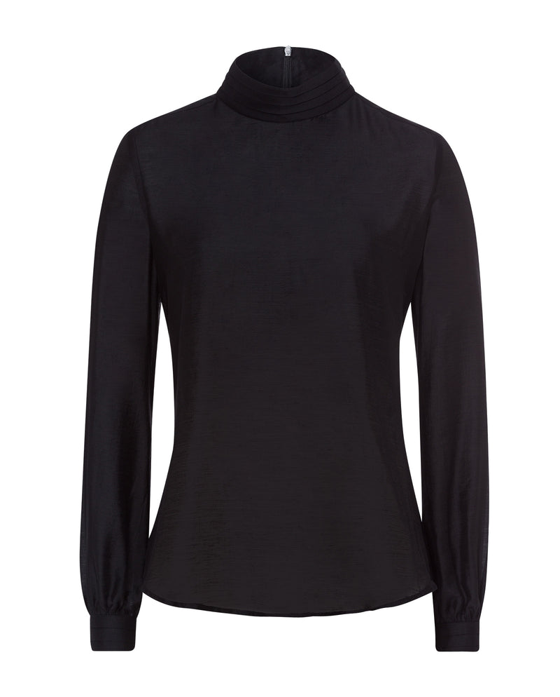 Pleated Collar Blouse Black