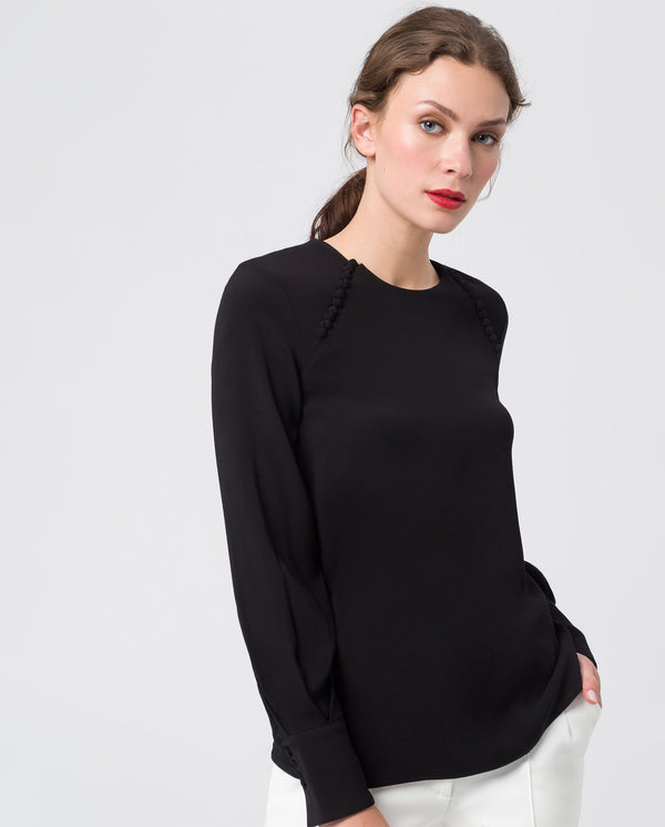 Button Blouse Black