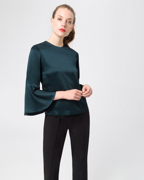 Volant Sleeve Blouse Bottle Green