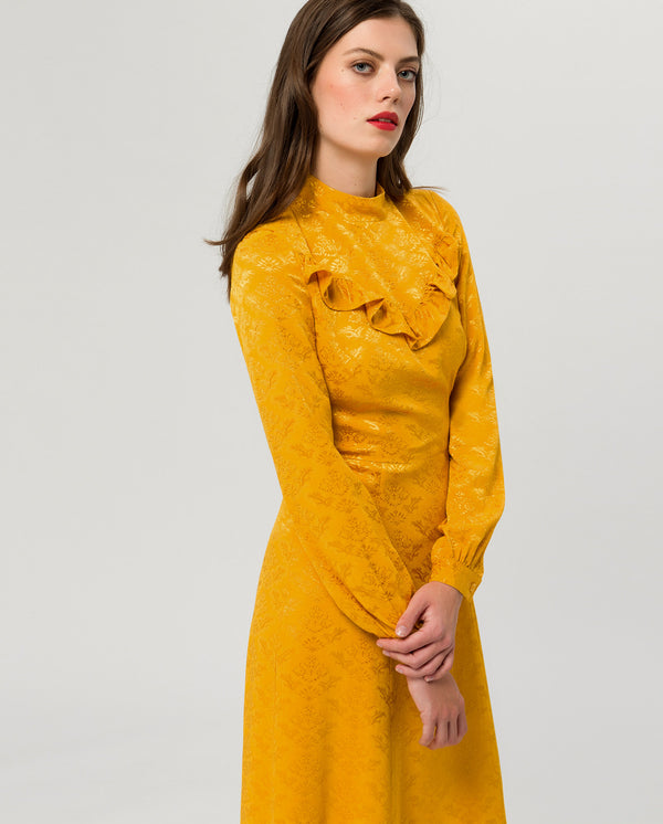 Ruffle Stand-Up Collar Dress Midi Sunflower
