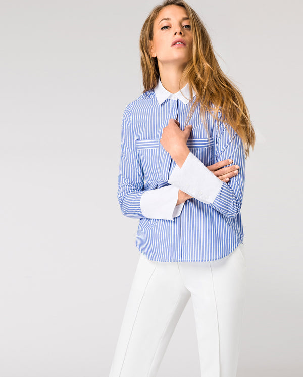 Classic Blouse Contrast Collar
