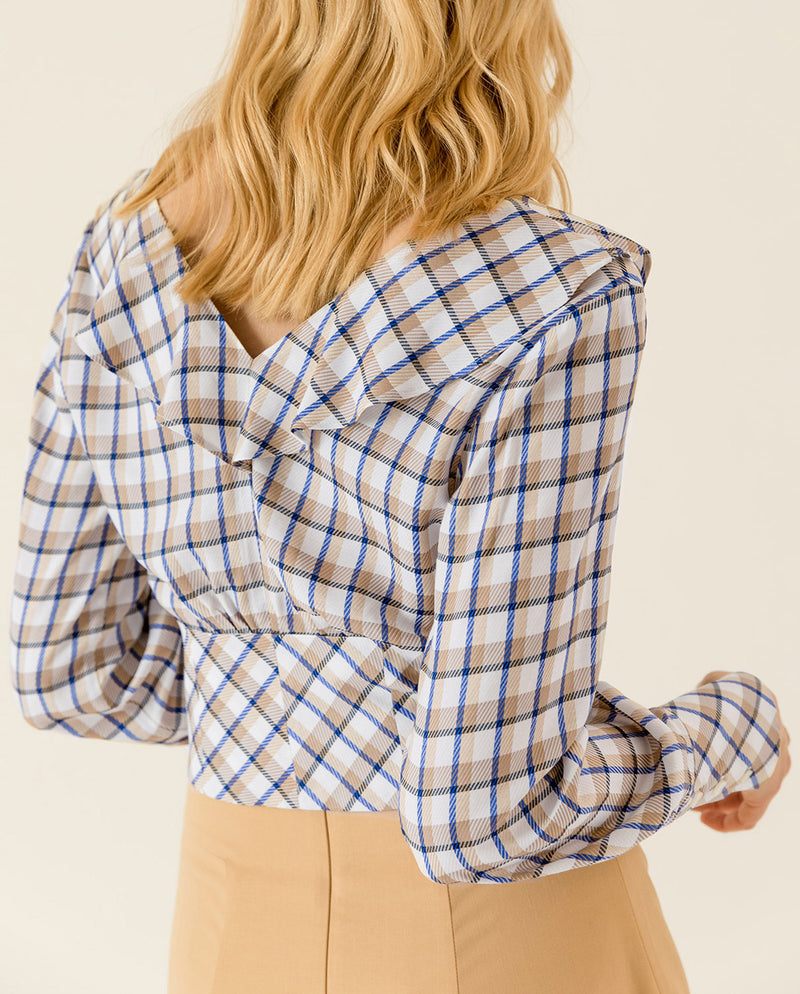 Checked Valance Blouse Snow White Check
