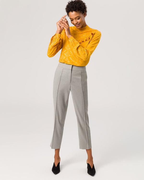 Cropped Business Pants Light Grey Melange