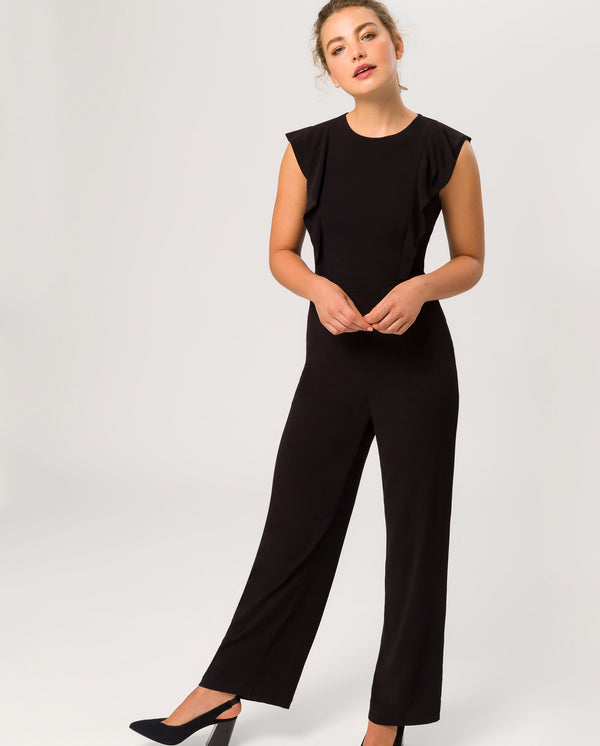 Volant Sleeve Jumpsuit Solid