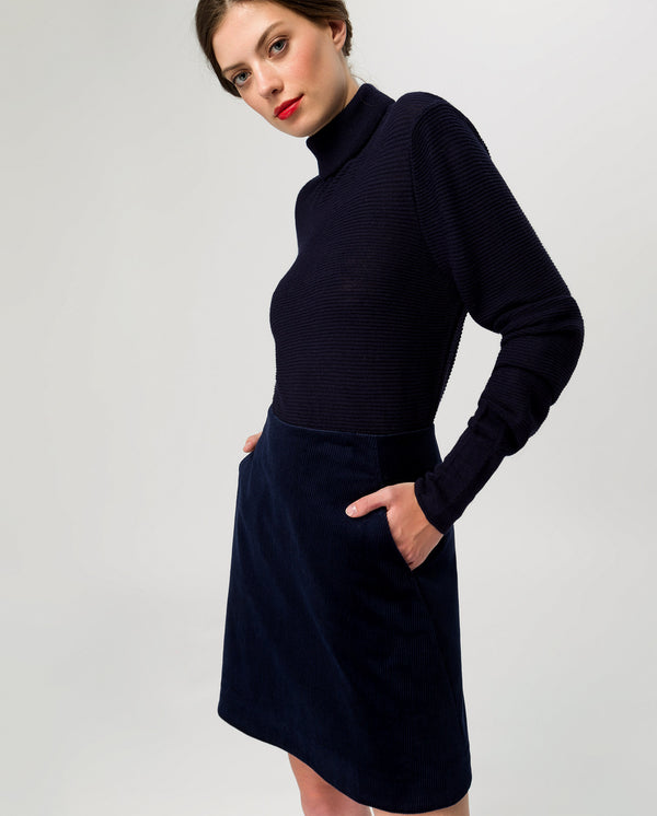 Cord Skirt Navy Blue