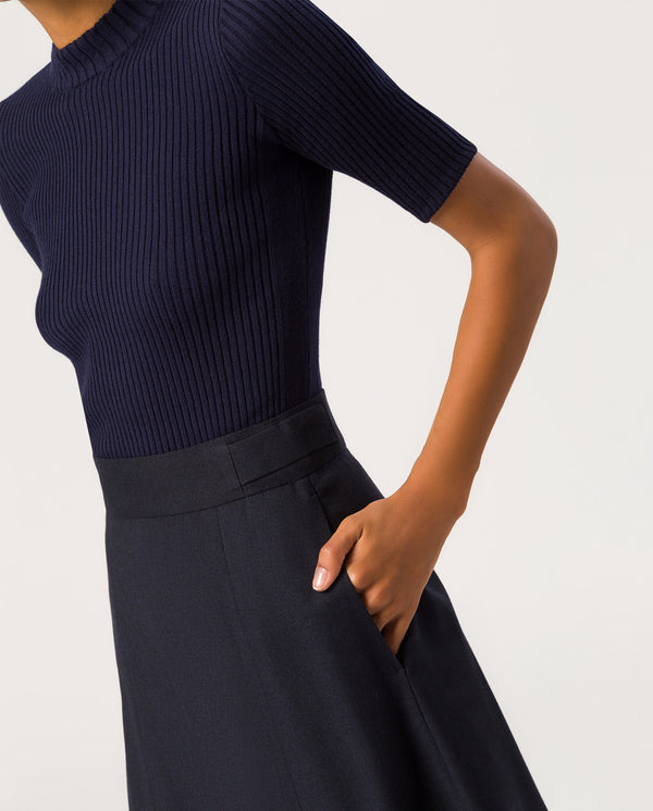 Swing Midi Skirt Navy Blue