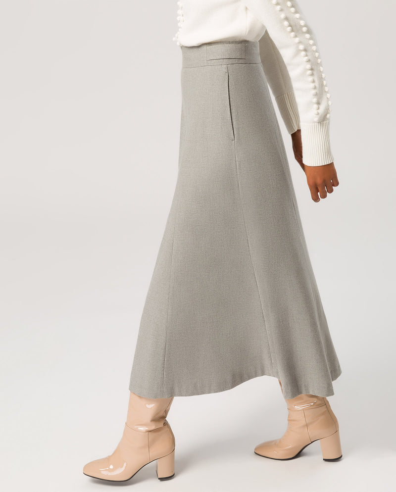 Swing Midi Skirt Light Grey Melange