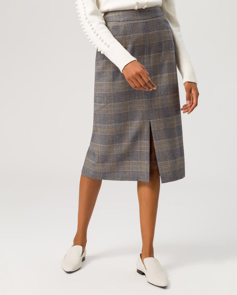 Pencil Skirt Midi Checked