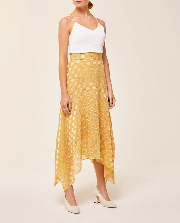 Midi Asymmetrical Dot Skirt