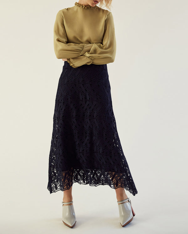 Midi Graphic Lace Skirt Navy Blue