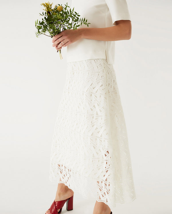 Midi Graphic Lace Skirt Snow White