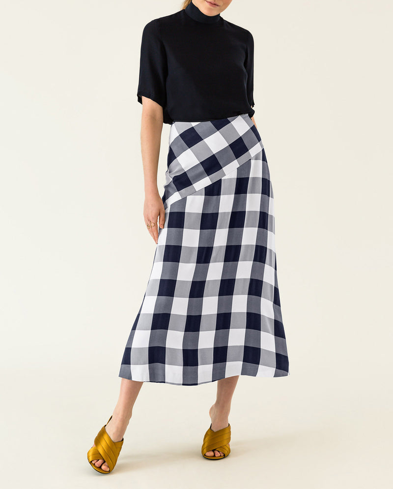 Checked Midi Skirt Navy Blue Gingham